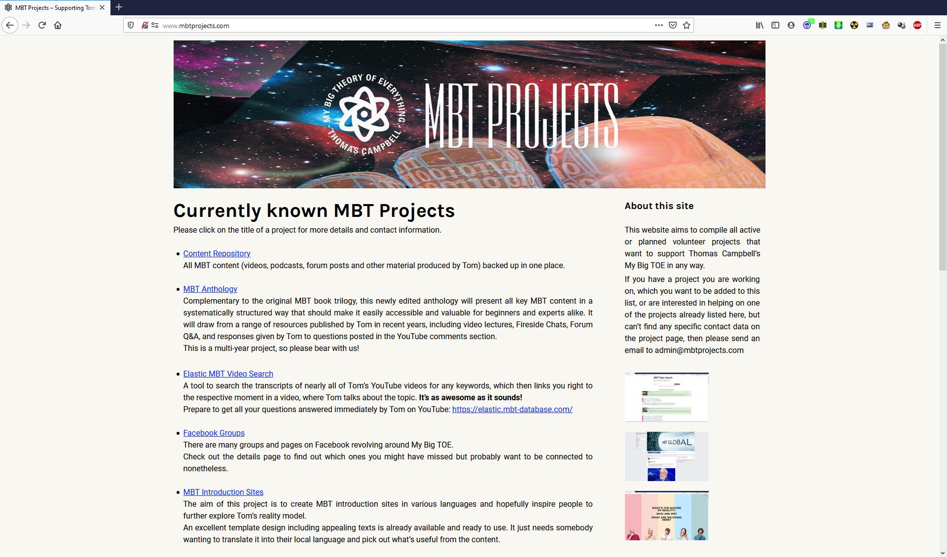 MBTProjects.com Screenshot