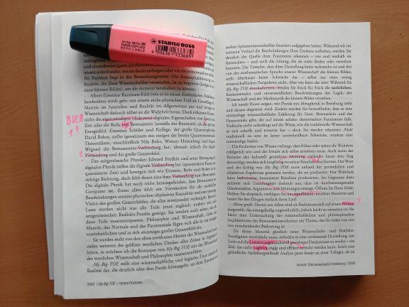 Buch 3 markierter Text